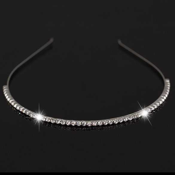 Luxe metalen haarband / diadeem met strass steentjes