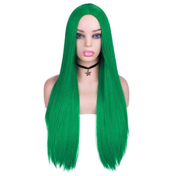 Cosplay pruik lang steil haar zonder pony kleur gif groen