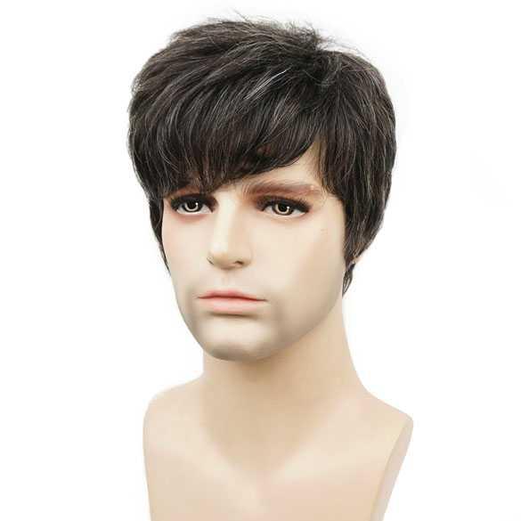 Mannenpruik kort model in laagjes mix met grijze haren