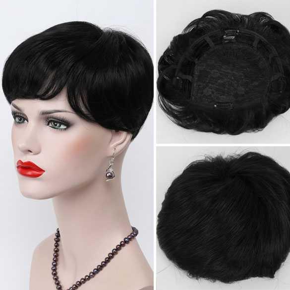 Haartopper met clips zwart kleur 1