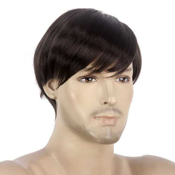 Mannenpruik bruin kort haar kleur 4