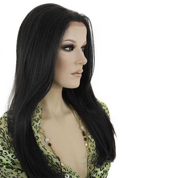 Lace pruik mix met echt haar model Charity kleur 1b