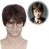 Harry Potter pruik kort bruin haar in laagjes + bril