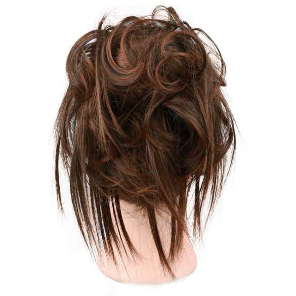 Warrige haar scrunchie met elastiek bruinmix kleur 2-30