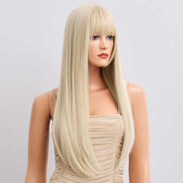 Pruik lang blond steil haar in laagjes met pony model 32-6