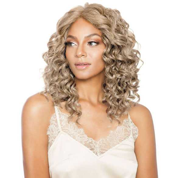 Lace front pruik schouderlang blond krullend haar model Mallory