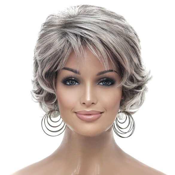 Mooie pruik kort kapsel in grijsmix kleur 48T