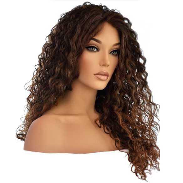 Lace pruik lang haar met krullen Delaney kleur T1B-30