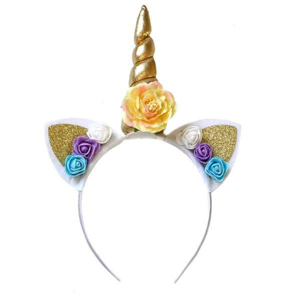 Unicorn diadeem hoorntje goud met oortjes en roosjes