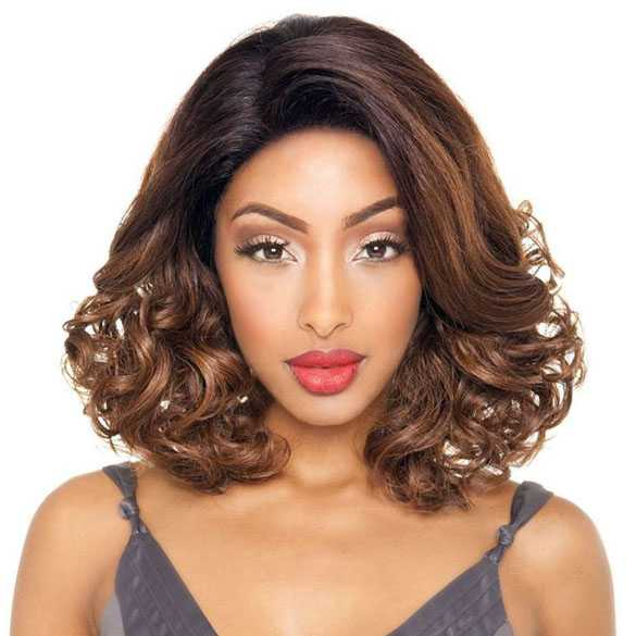 Brown Sugar lace pruik bob model mix met echt haar BS606