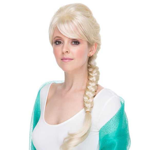 Luxe Frozen Disney pruik Elsa Ice-Queen met vlecht
