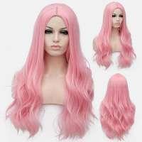 Pruik lang haar met slagen in pastel zoet roze