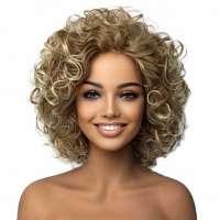 Mooie volle pruik kort krullend haar in blondmix