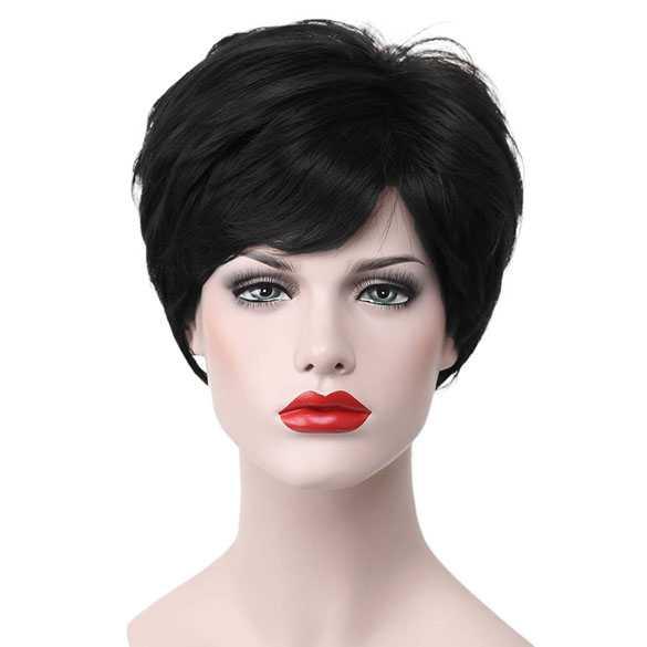 Moderne pruik kort zwart haar in laagjes kleur 1