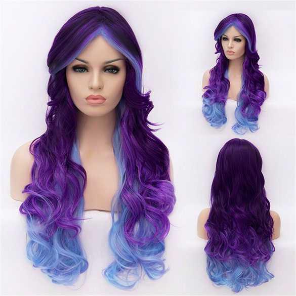 Cosplay pruik paars blauw lang haar met krullen