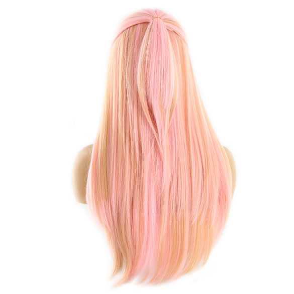 Swiss lace pruik lang haar zonder pony model Nicki kleur Rosegold
