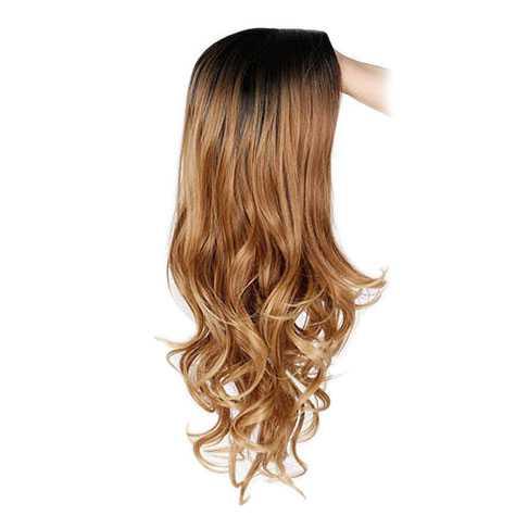 Pruik ombre goudblond lang haar met donkere roots