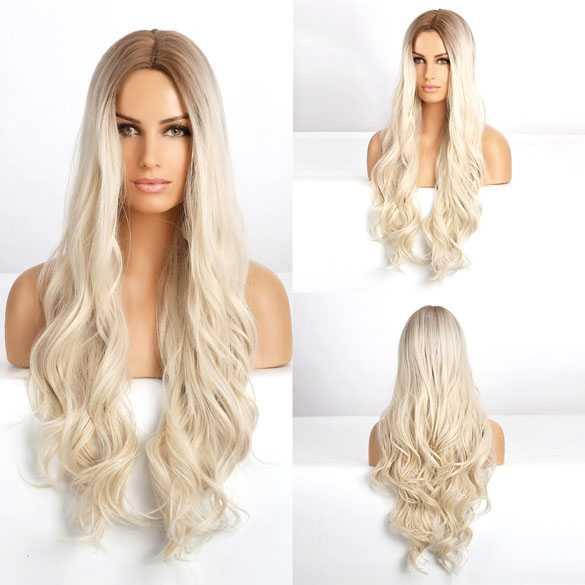 Pruik zeer lang witblond haar met grove slagen model 273