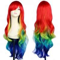 Multi-color carnaval Parrot pruik lang haar met slagen