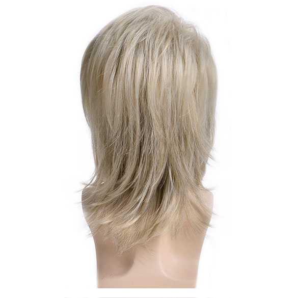 Mannenpruik schouderlang haar in laagjes blondmix