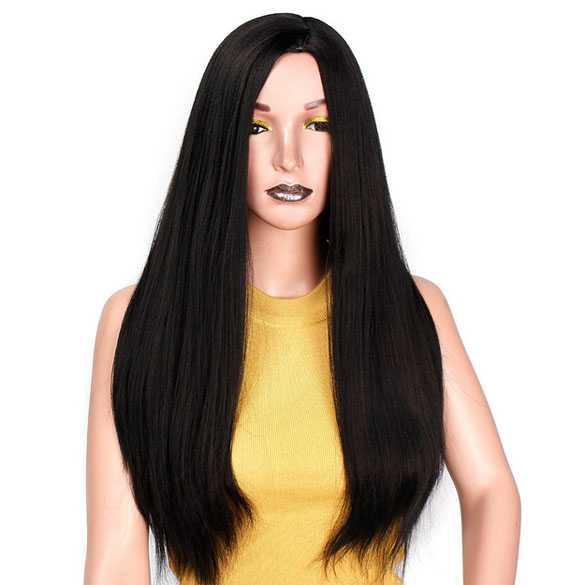 Pruik lang zwart steil haar zonder pony