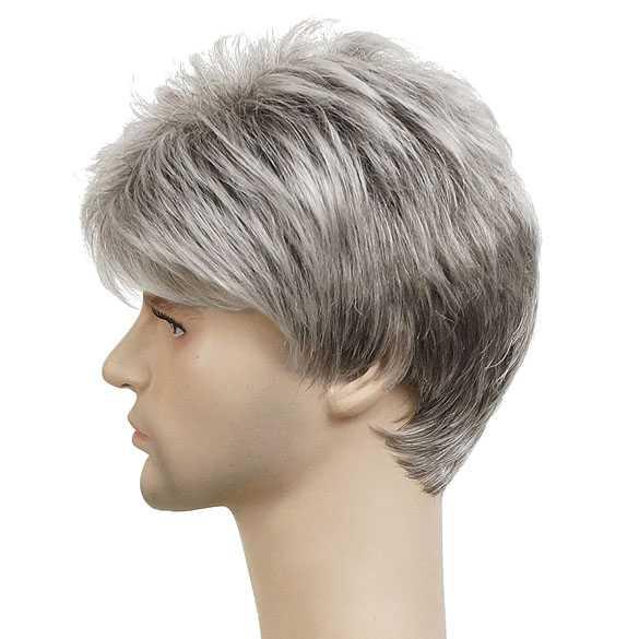 Mannen pruik kort haar in laagjes grijsmix kleur 48T