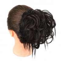 Warrige haar scrunchie met elastiek bruin kleur 4