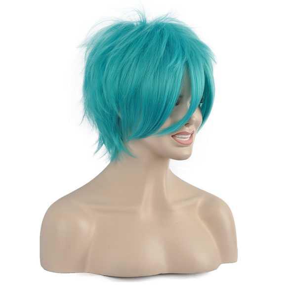 Manga pruik kort haar in laagjes met plukjes turquoise