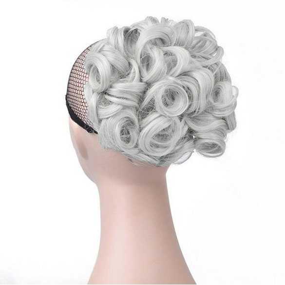 Chignon elastisch haarstukje / vlinderkam kleur zilver witgrijs