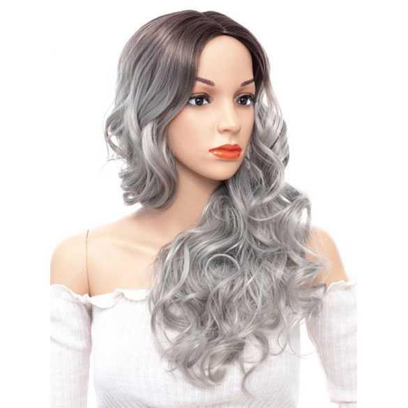 Ombre pruik zilvergrijs lang haar met slagen zonder pony