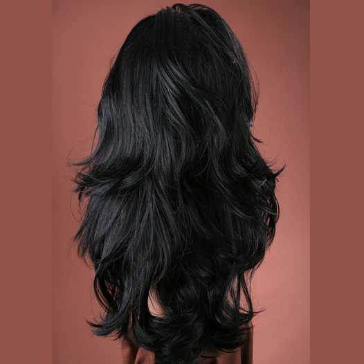 Sexy pruik lang zwart haar met slagen model Jasmine