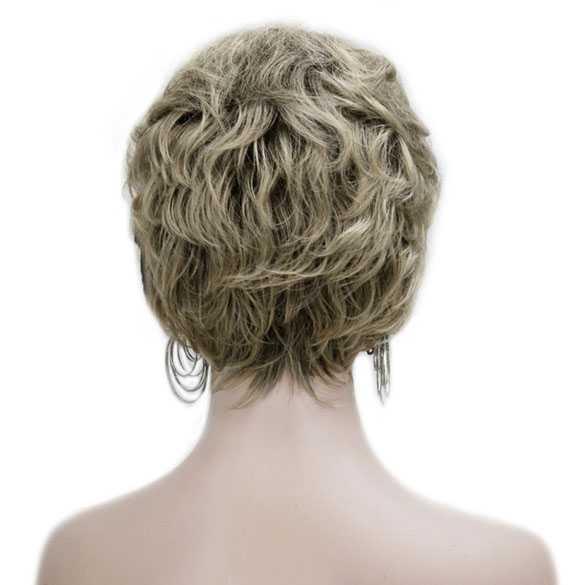Damespruik kort haar in laagjes as-blondmix met highlights kleur R10-26
