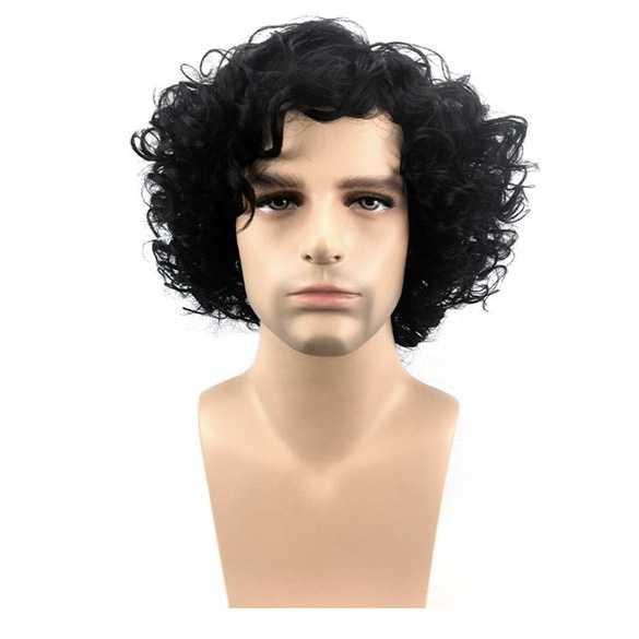 Pruik zwart krullend haar model Jon Snow