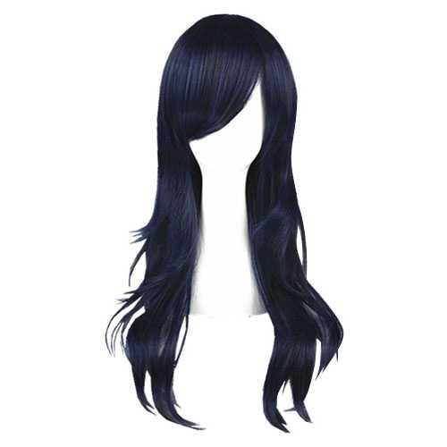 Pruik donkerblauw lang steil haar in laagjes