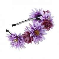 Hippie bloemen diadeem / haarband paars