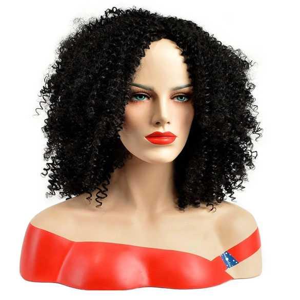 Moderne pruik halflang haar met afro krullen