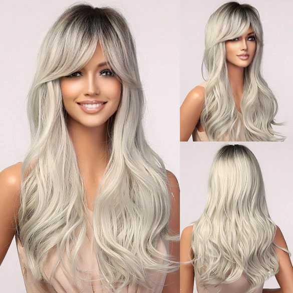 SALE : Pruik grijsblond lang haar met slagen model 5074