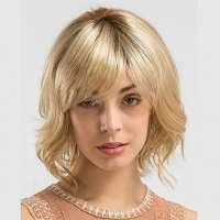 Pruik kort haar in laagjes goudblond mix model Angela