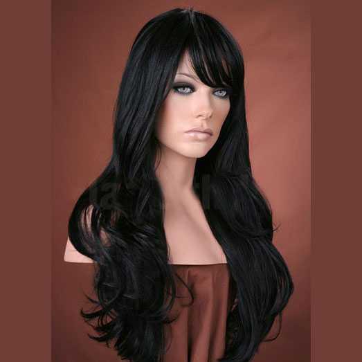 Pruik lang zwart haar in laagjes model Kristen kleur 1b