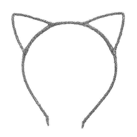 Glinster haarband model katten oortjes zilver