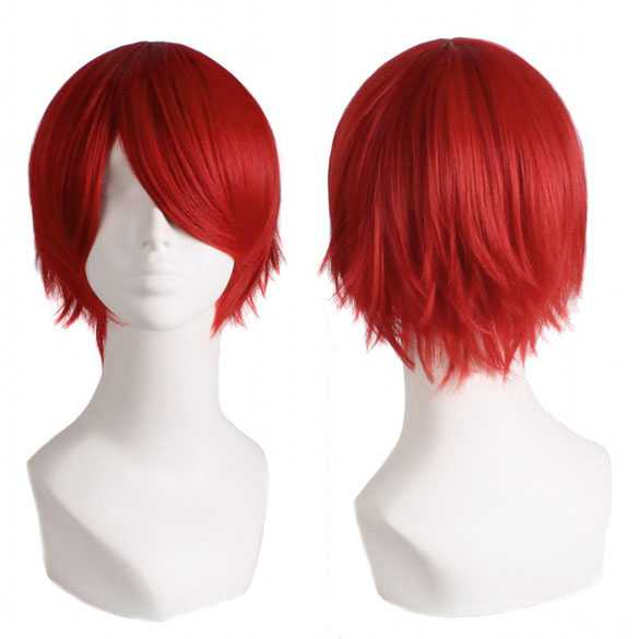 Cosplay / Manga pruik kort haar rood in laagjes