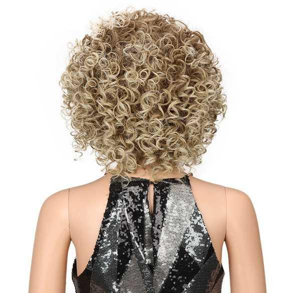 Nonchalante pruik krullend haar kort model in blondmix