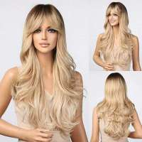 Pruik lang haar met slagen bruin blond model 5203