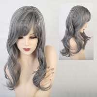 Pruik in mooie grijsmix met lang haar in laagjes model 182