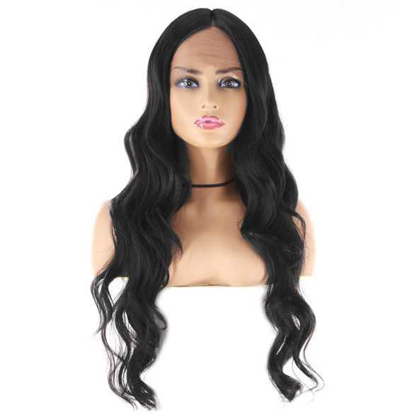 Swiss lace pruik lang haar met grove slagen model Manuela kleur 1B