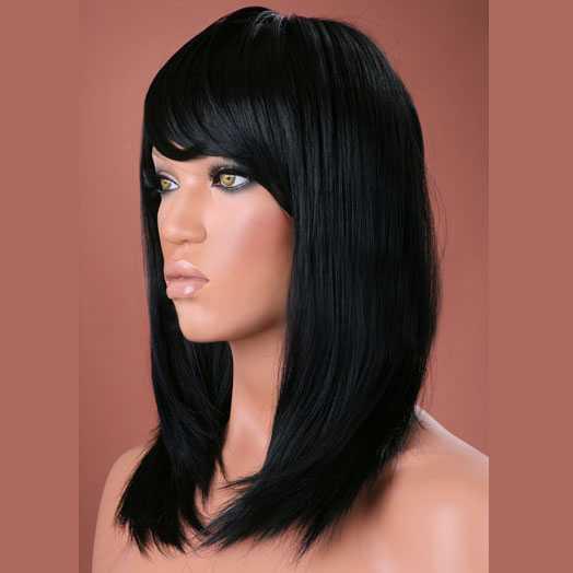 Luxe pruik halflang zwart steil haar model Missy kleur 1