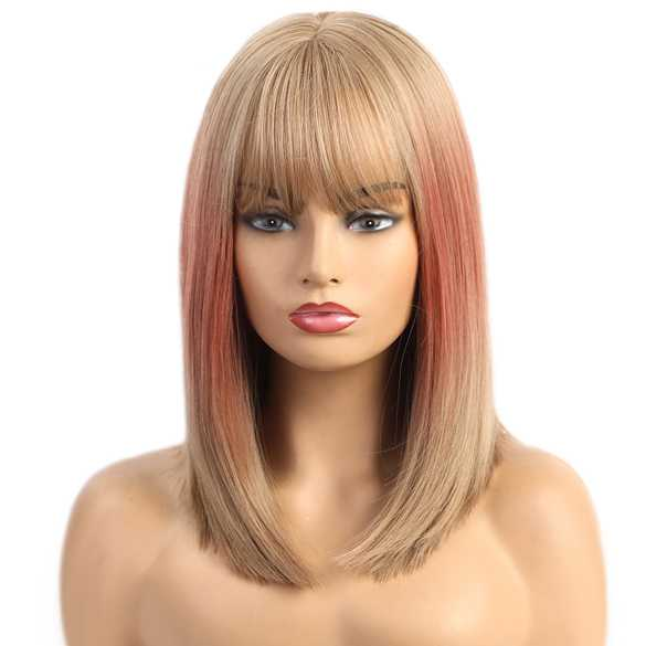 Duo color pruik blond / koraal schouderlang steil haar
