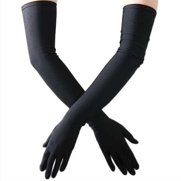 Lange handschoenen zwart stretch satijn