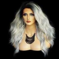 Lace pruik lang golvend haar model Yvonne kleur TT1B/DKGREY