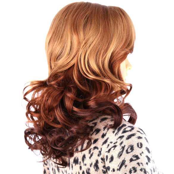 Vurige pruik goudblond / roodbruin lang haar met krullen